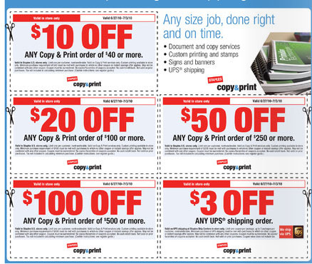 Discounts average $11 off with a Staples Copy and Print promo code or coupon. 50 Staples Copy and Print coupons now on RetailMeNot.