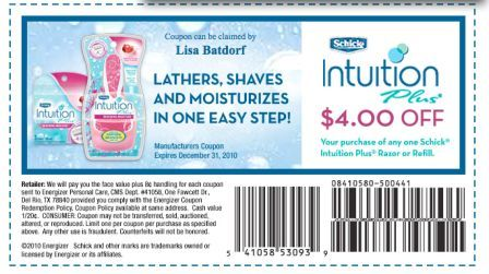 4 Schick Intuition Coupon
