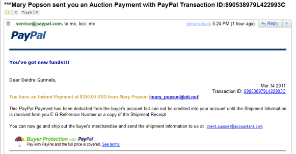 and guess what i saw it wasnt from paypal it said clientsupportaccountantcom