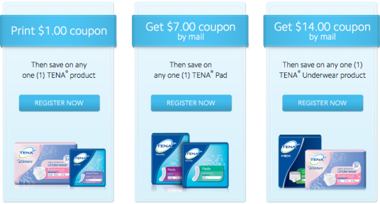 $14/1 TENA Underwear Coupon Mailed to your House = Free at