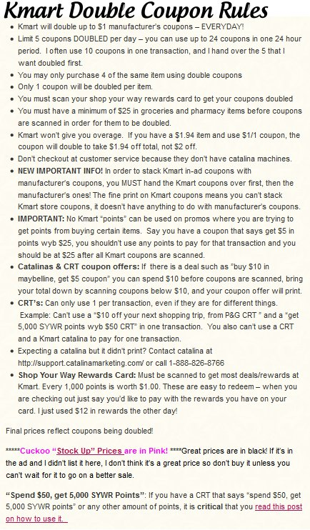 kmart double coupon rules