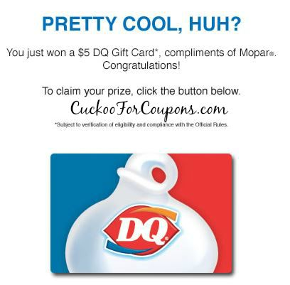 30,000 Instant Winners Game $5 - $50 DQ Gift Cards!! I just WON!