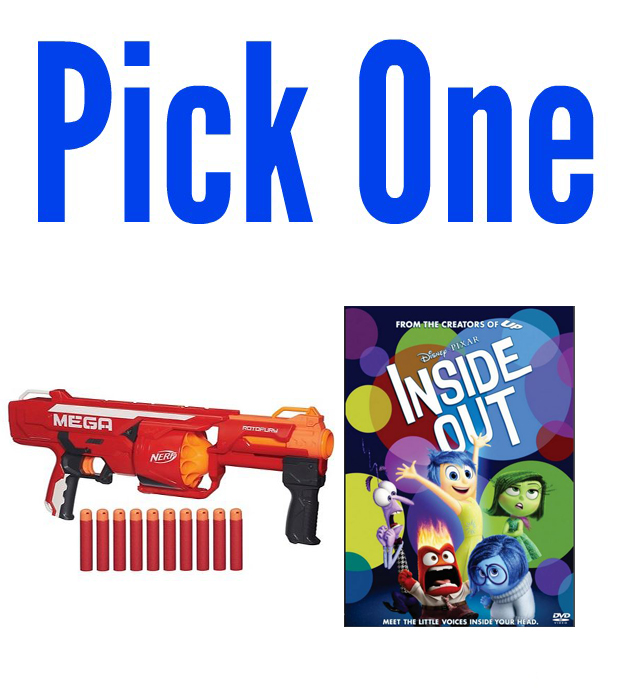 I'm giving away a Inside Out DVD or Nerf Mega RotoFury Blaster on Monday,  11/9/15! Reader's Choice