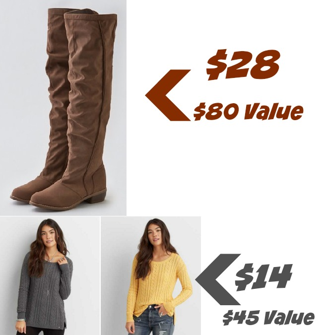 61048e99909 American Eagle   28 Suede Boots    14 Sweaters! (Up to  80 Value) · 0 · AEO  over the knee boots