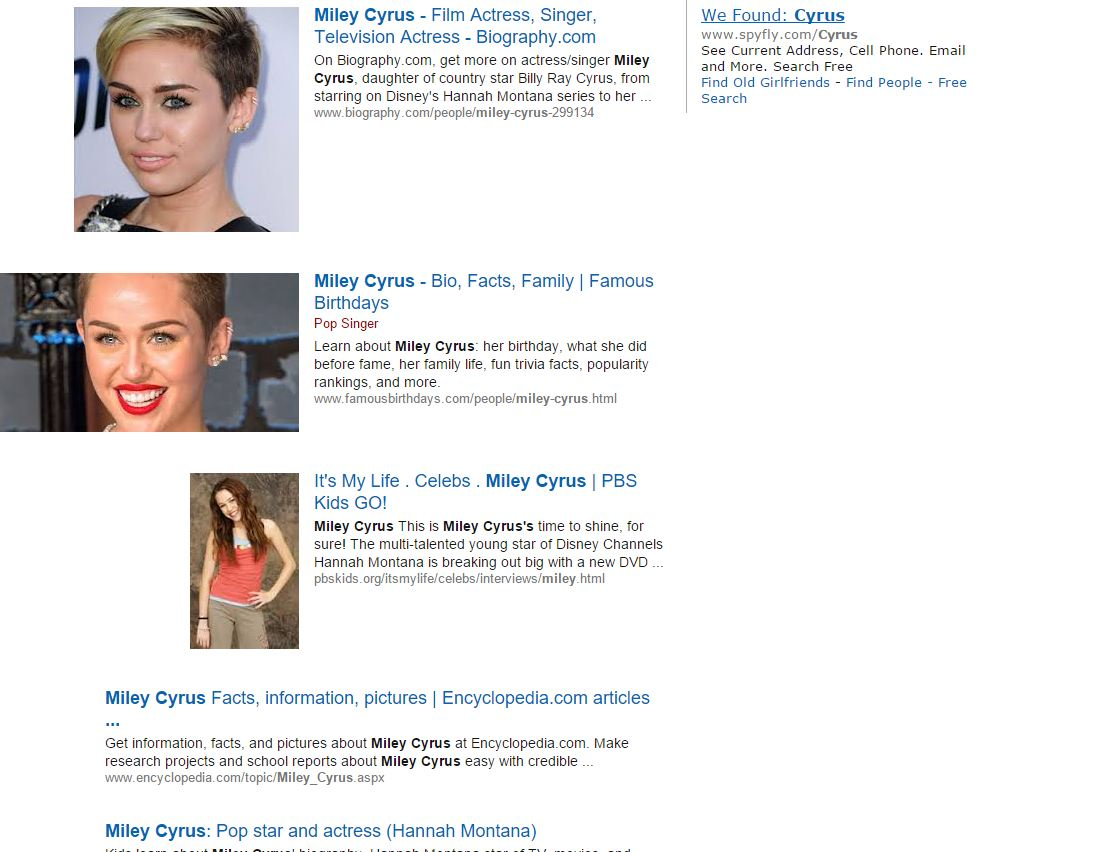 What Does This Mean? Let Me Show You €� First I Typed In Miley Cyrus (which  In Regular Google Can Bring Up Some Pretty Filthy Stuff) And This Is What I  Get