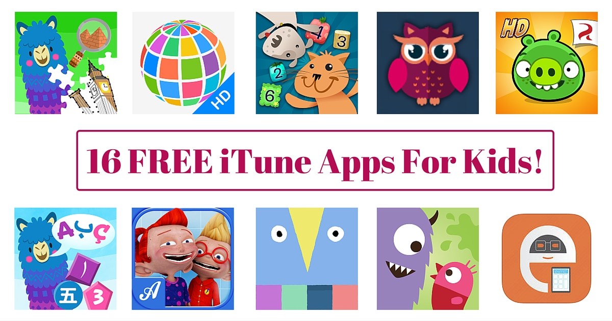 16 FREE iTune Apps For Kids!