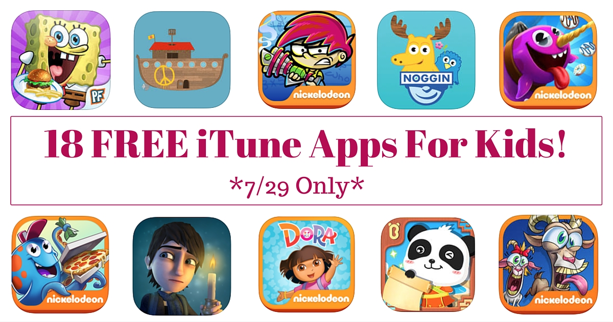 18 FREE iTune Apps For Kids!
