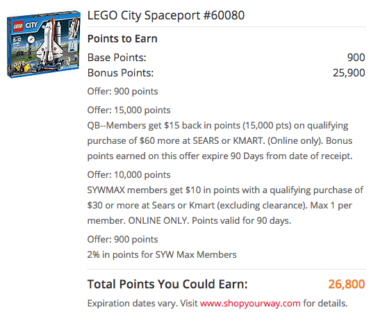 Kmart: $28 Back in Points wyb Select Lego Sets!
