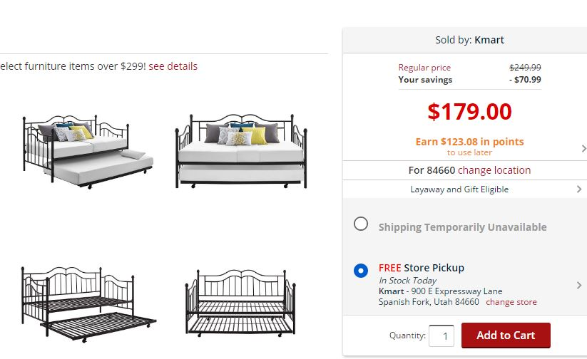 Kmart Com 56 Scroll Daybed With Trundle After Points