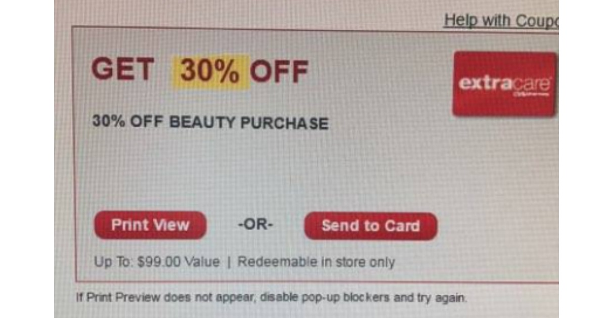 cvs 30 off coupon in store