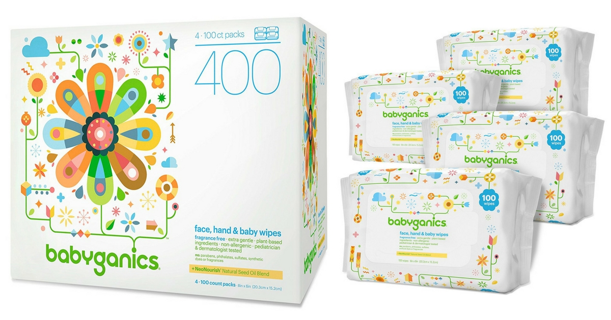 Babyganics 400 Count Face, Hand, & Baby Wipes