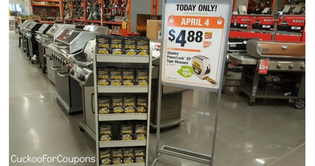 Home Depot 4 88 Stanley Power Lock 25 Ft Tape Measure 10 Value