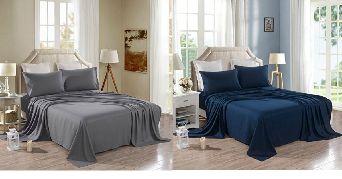 Fresh At Amazon pick up the Honeymoon Queen Bed Sheet Set for only Reg Price It is brushed microfiber and available in Navy or Grey