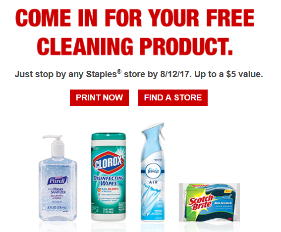 staples free cleaning products email
