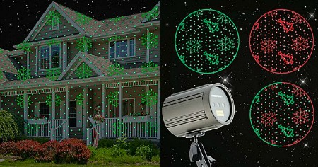 Red Green Snowflakes & Trees Laser Projection Light Feature
