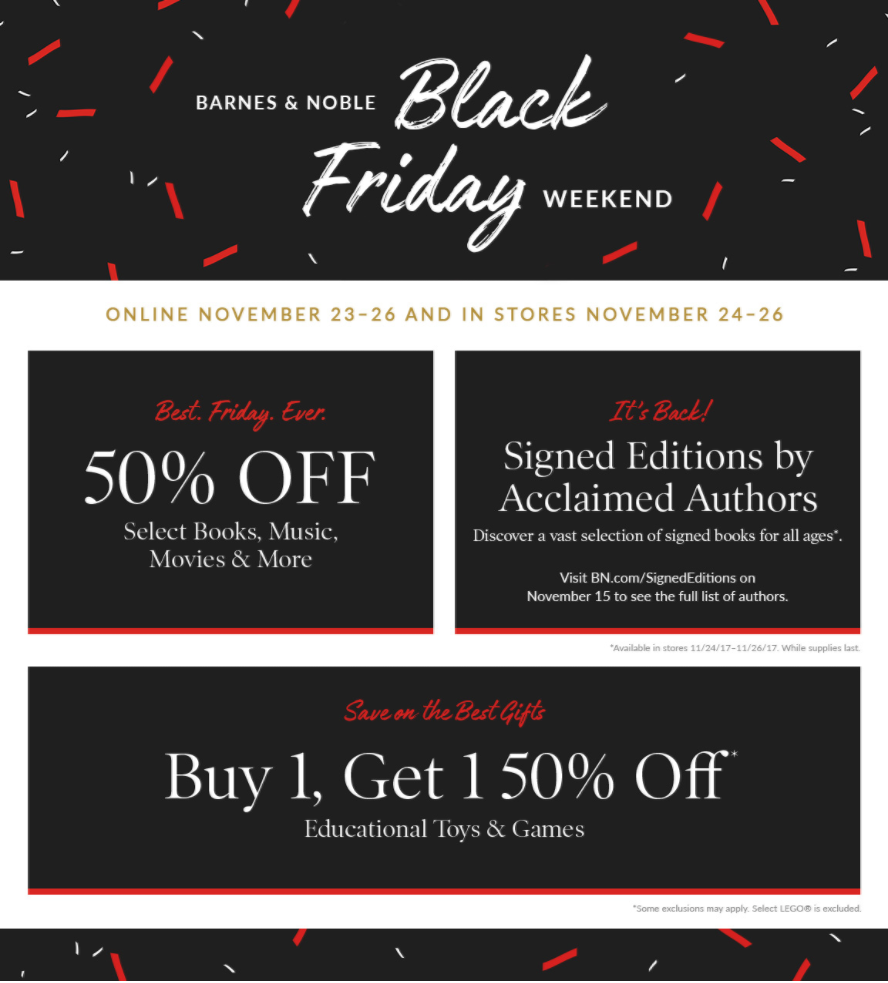 Barnes and Noble Black Friday Deals & Sales. Barnes and Noble Black Friday will be here before you know it. Black Friday brought us a number of great deals for Media and more/5(41).