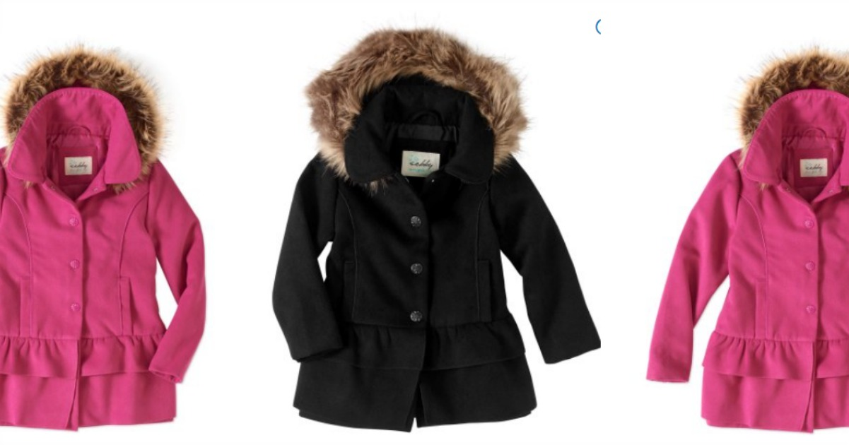 caa9ca4a35d5 Check out this adorable Sebby Baby Toddler Girl Fleece Ruffle Tiered Coat  with Faux Fur Hood in pink & black on clearance for just $6.50 (Reg.