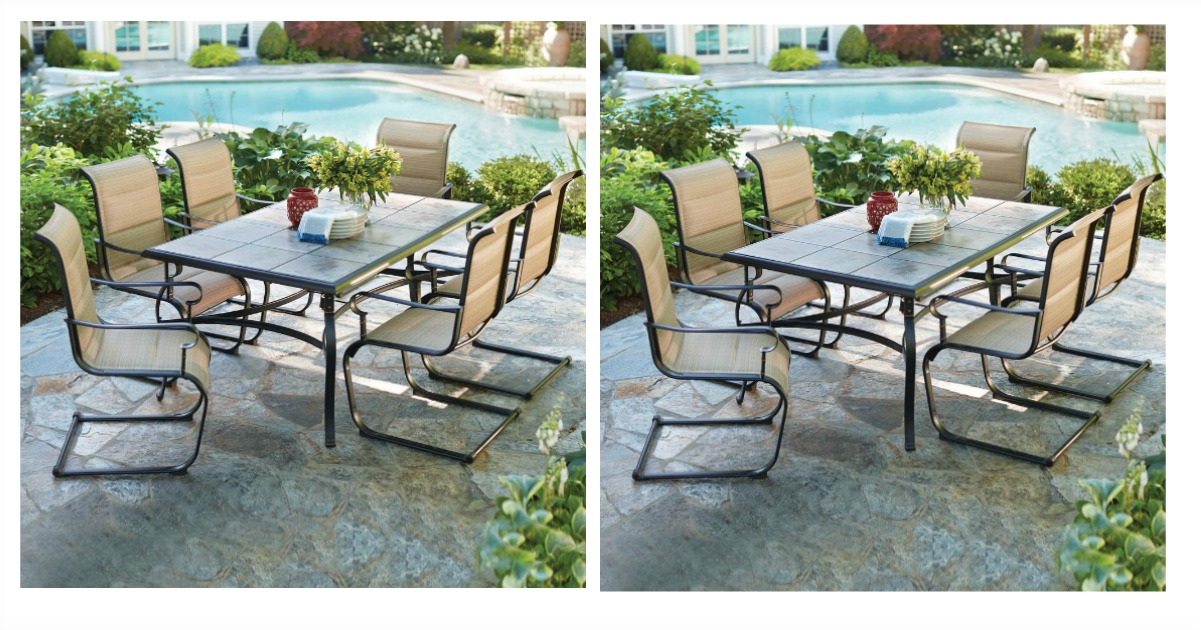 Thru 4/15 Celebrate Spring Black Friday Prices At Home Depot! We Spotted  This Belleville 7 Piece Padded Sling Outdoor Dining Set On Sale For Just  $299 (reg.